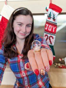 candy cane nails, Sally Hansen, snowman, Christmas
