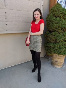 plaid skirt, Christmas outfit, work outfit, holiday party