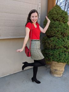 red blouse, plaid skirt, black tights, holiday look