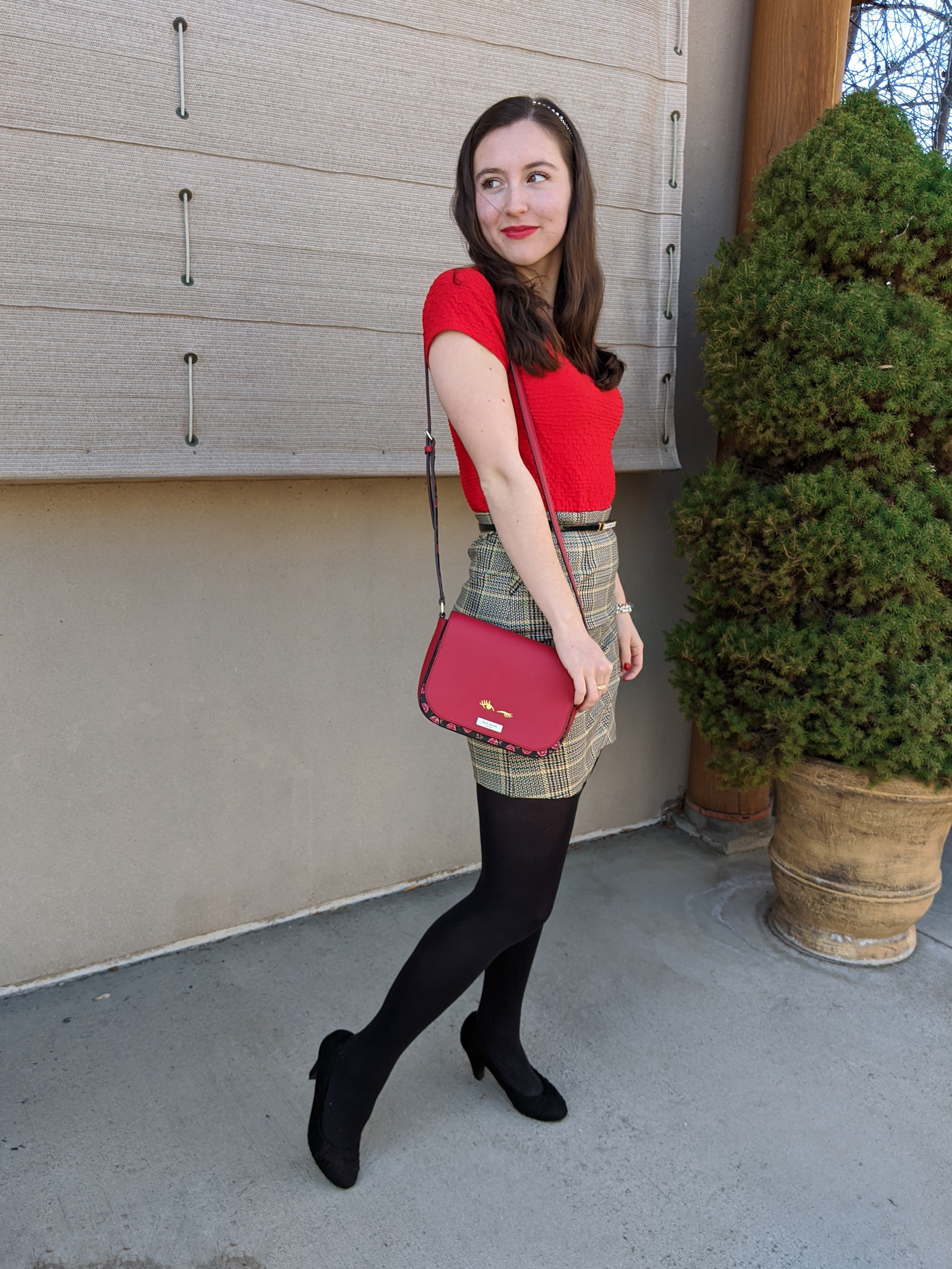 stylish holiday outfit, Cabi clothing, Kate Spade purse