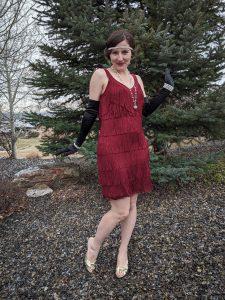 flapper style, roaring 20s, fringe dress, White House Black Market