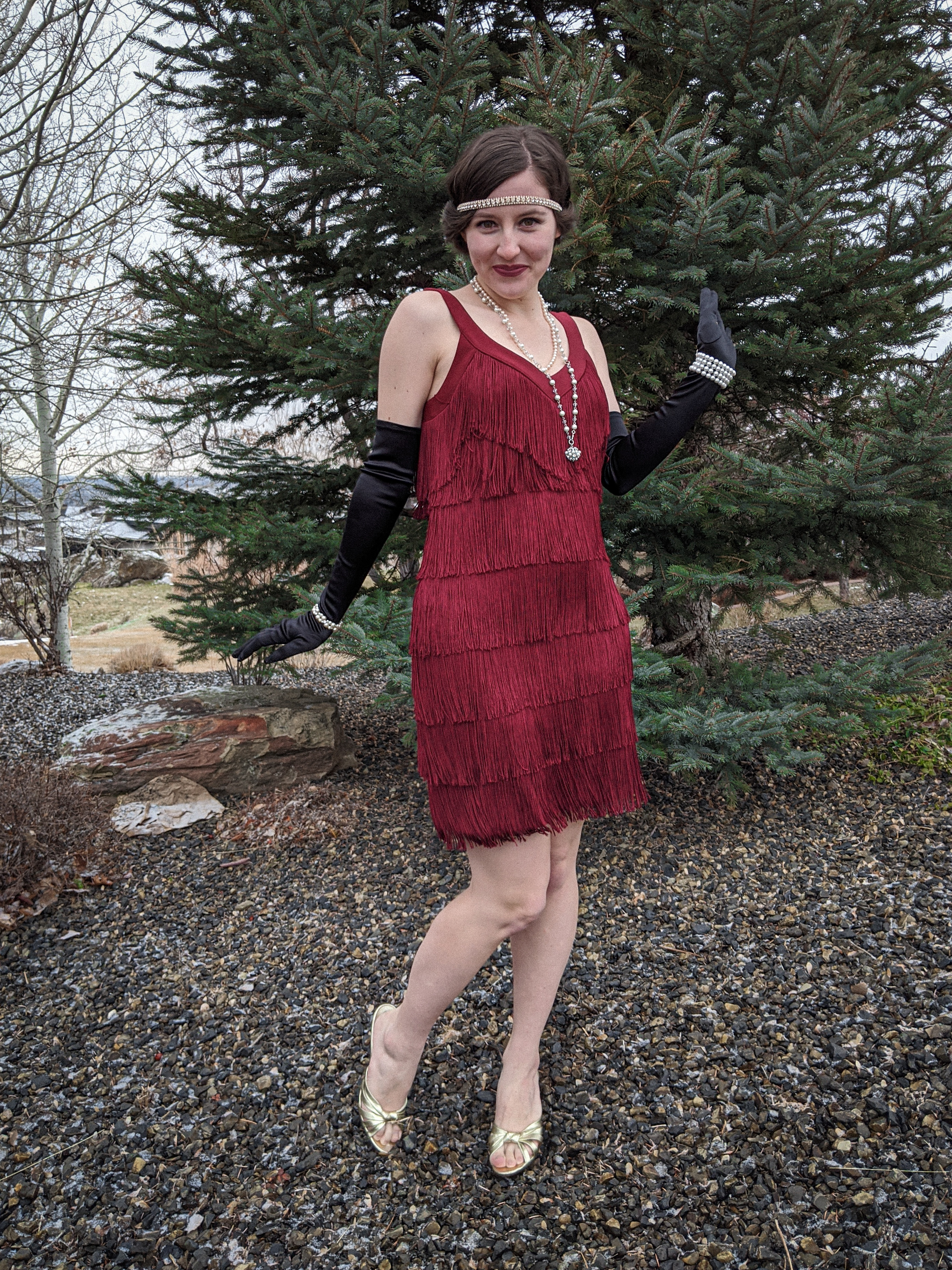 flapper style, roaring 20s, fringe dress, White House Black Market