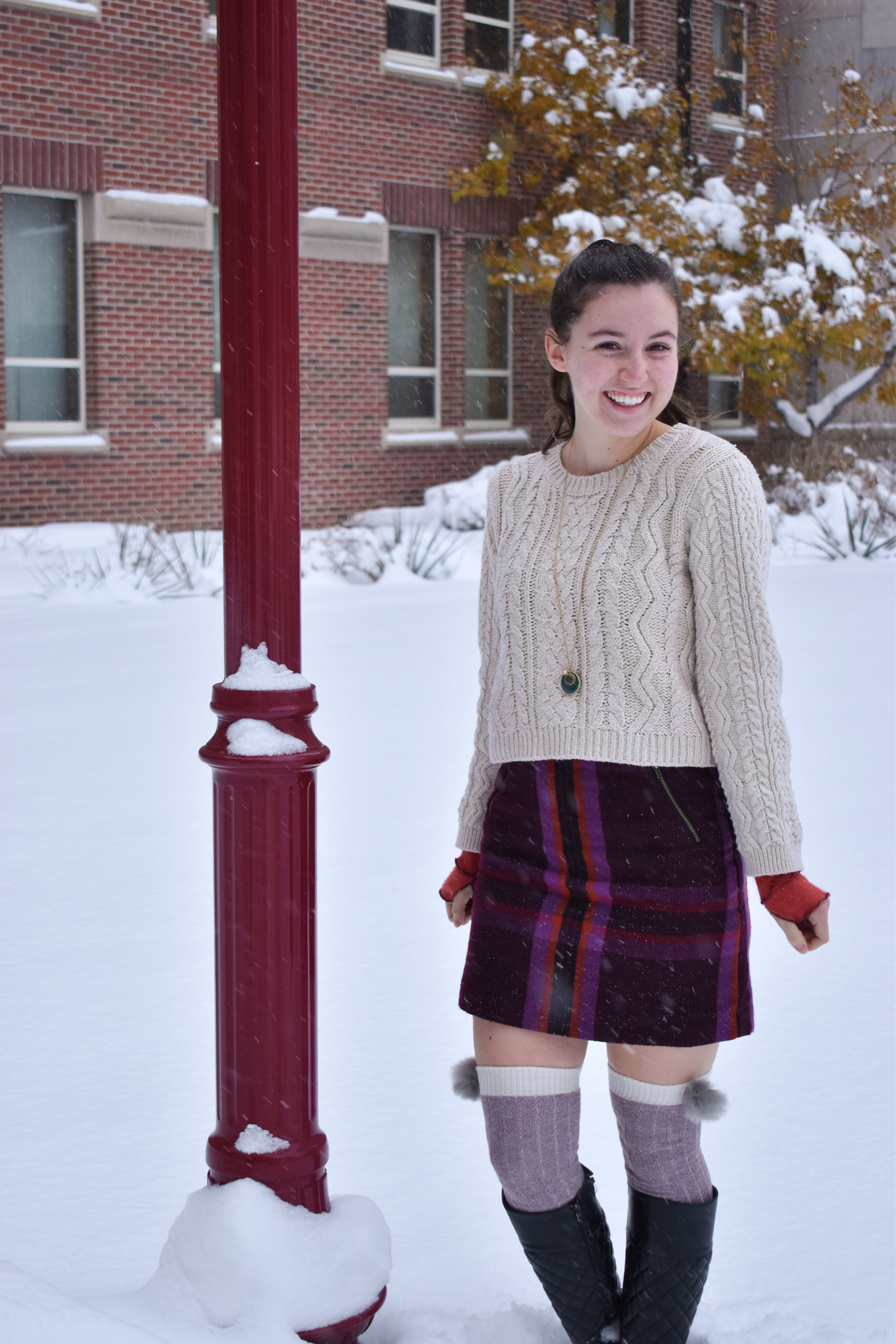 plaid skirt, cableknit sweater, winter outfit, knee socks