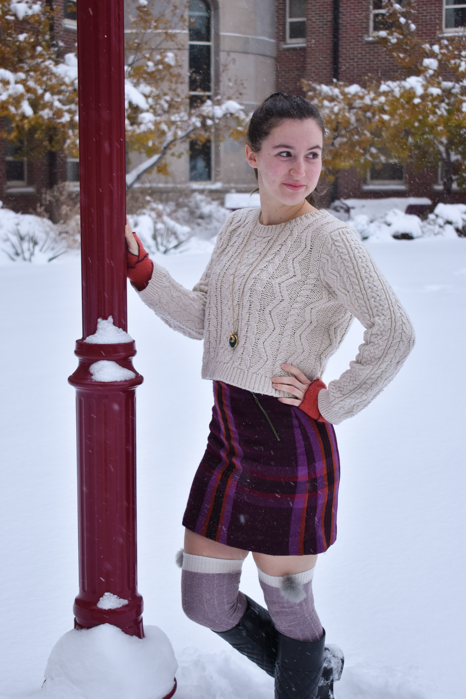 fashion blogger, plaid skirt, cableknit sweater, affordable fashion