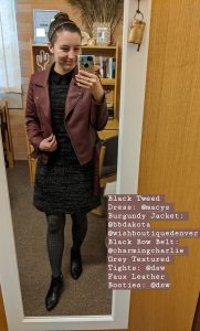 burgundy jacket, black collared dress, grey textured tights