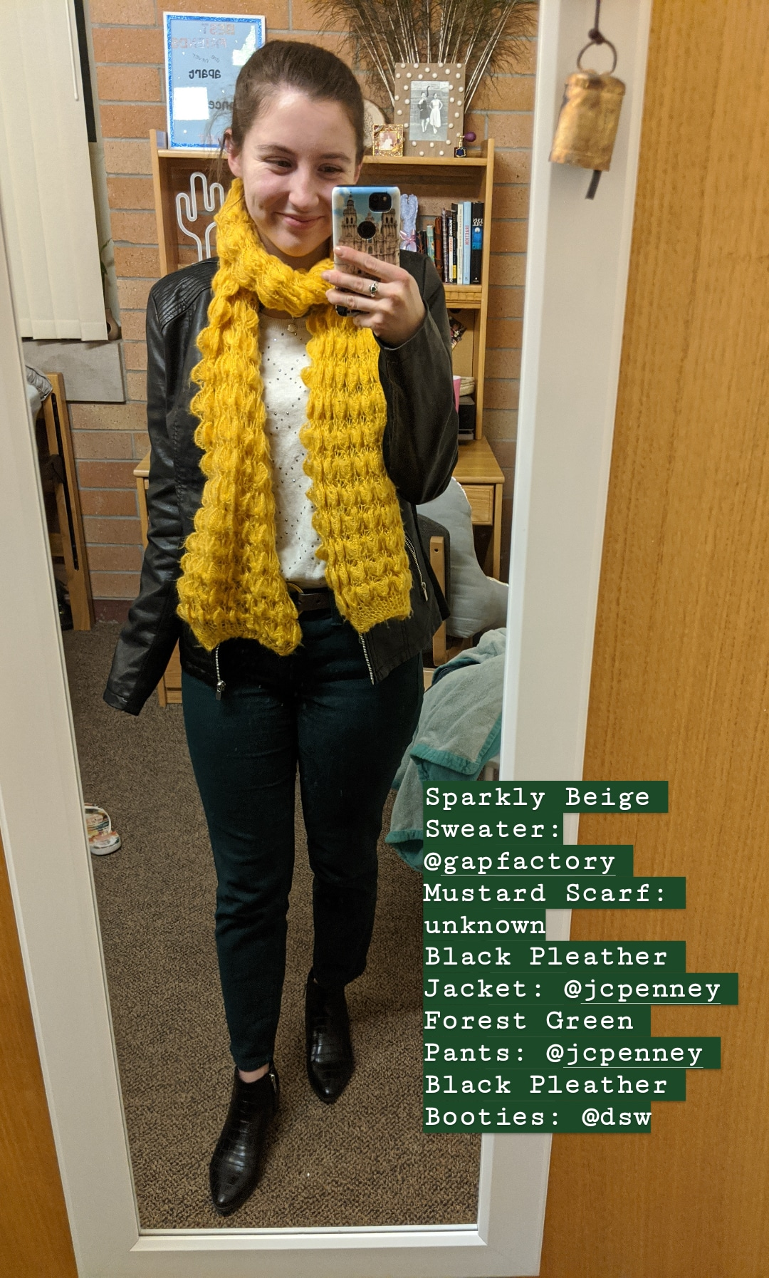 black pleather jacket, green pants, mustard scarf
