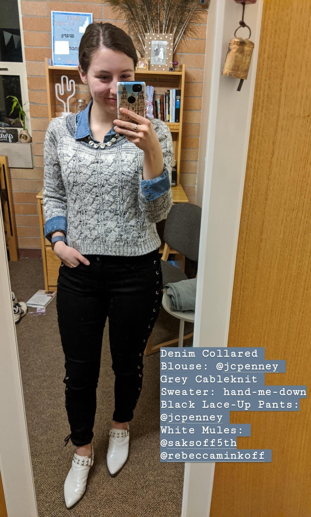 grey sweater, denim blouse, black lace-up pants, white mules