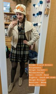 plaid dress, beige jacket, patterned tights, beige booties