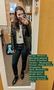 black pleather jacket, green pants, beige sweater, black booties