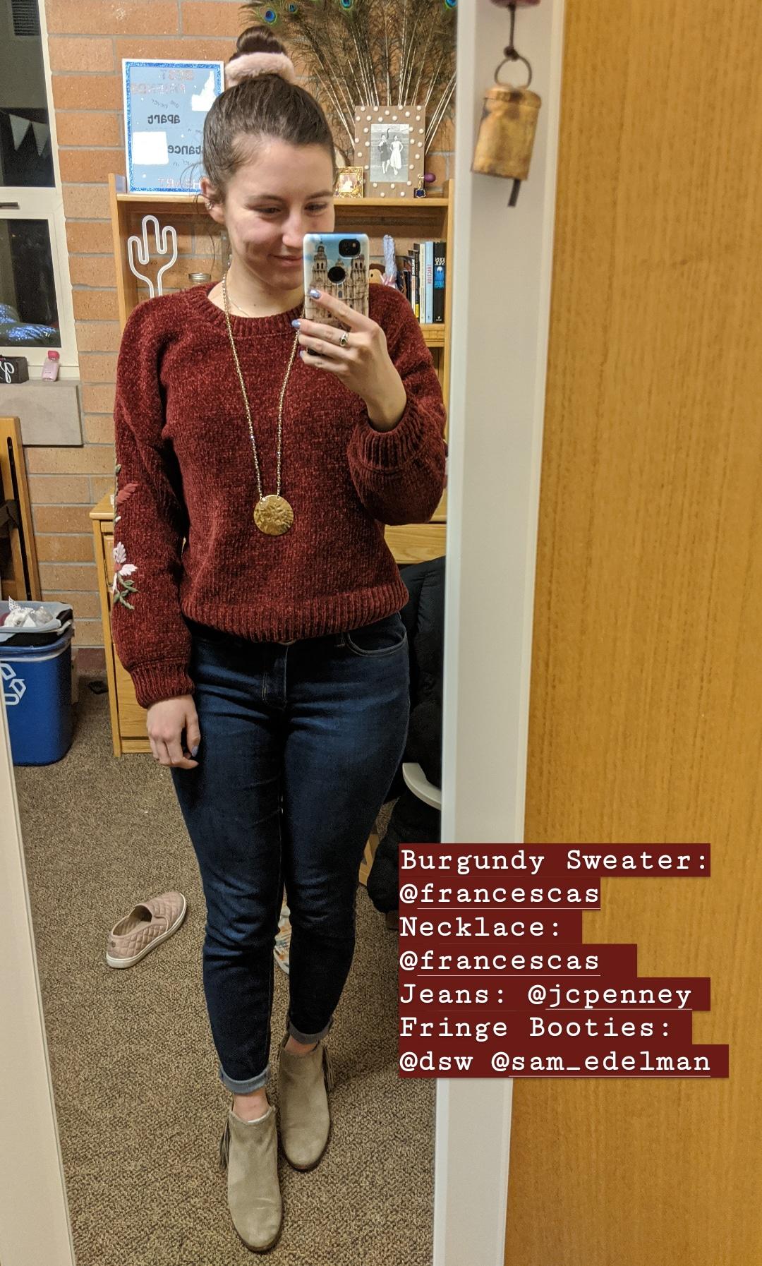burgundy sweater, skinny jeans, scrunchies, beige booties
