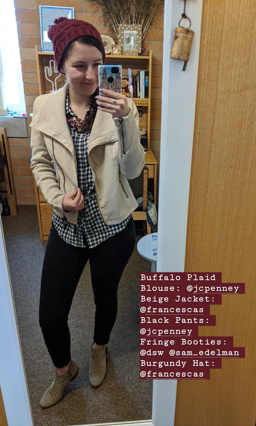 beige jacket, buffalo check blouse, black jeans, beige booties