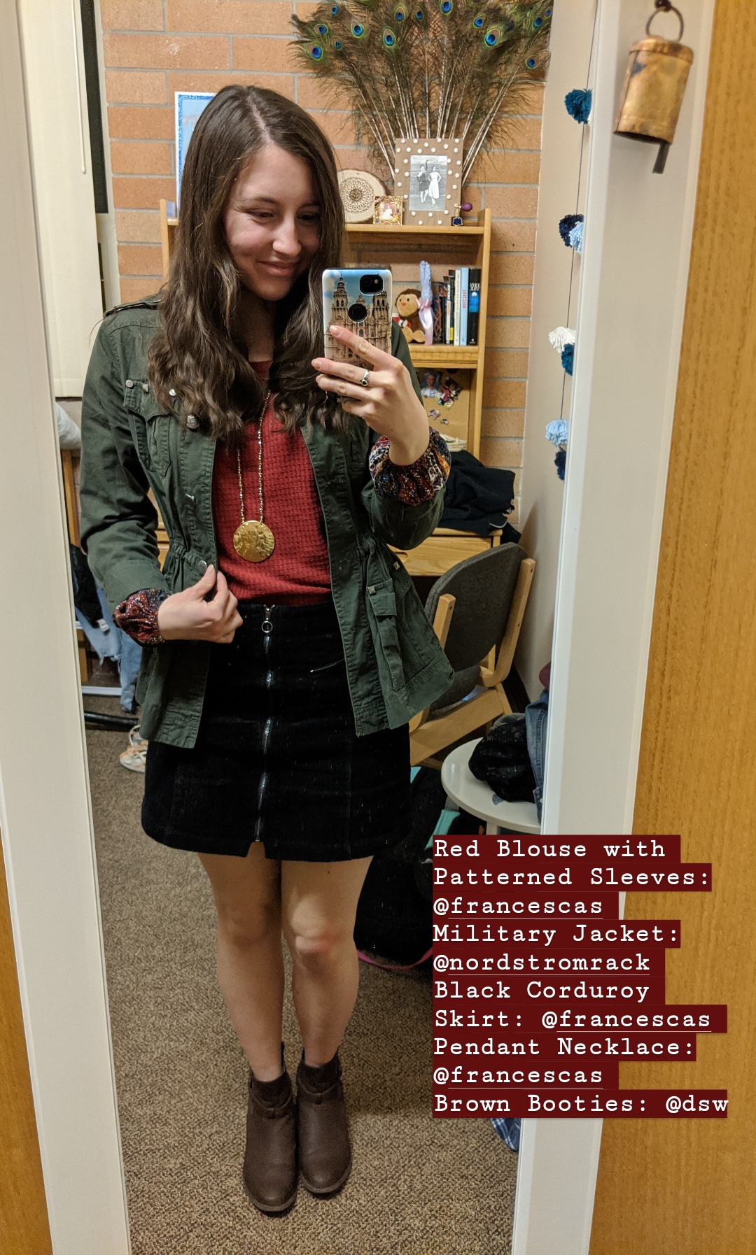 red blouse, military jacket, black corduroy skirt