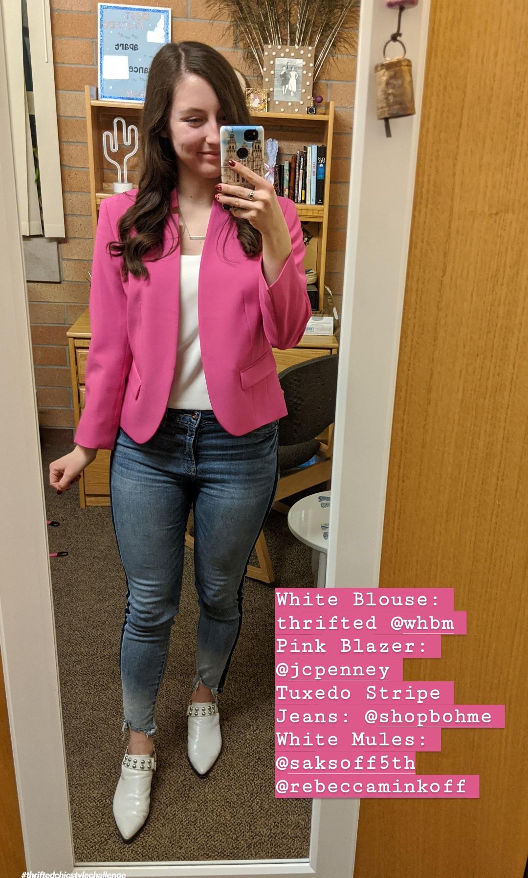 hot pink blazer, jeans, white mules