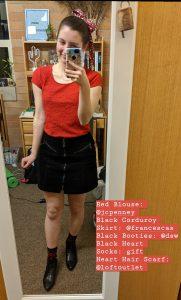 red blouse, heart print scarf, black corduroy skirt