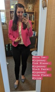 pink blazer, black pants, work outfit, denim flats