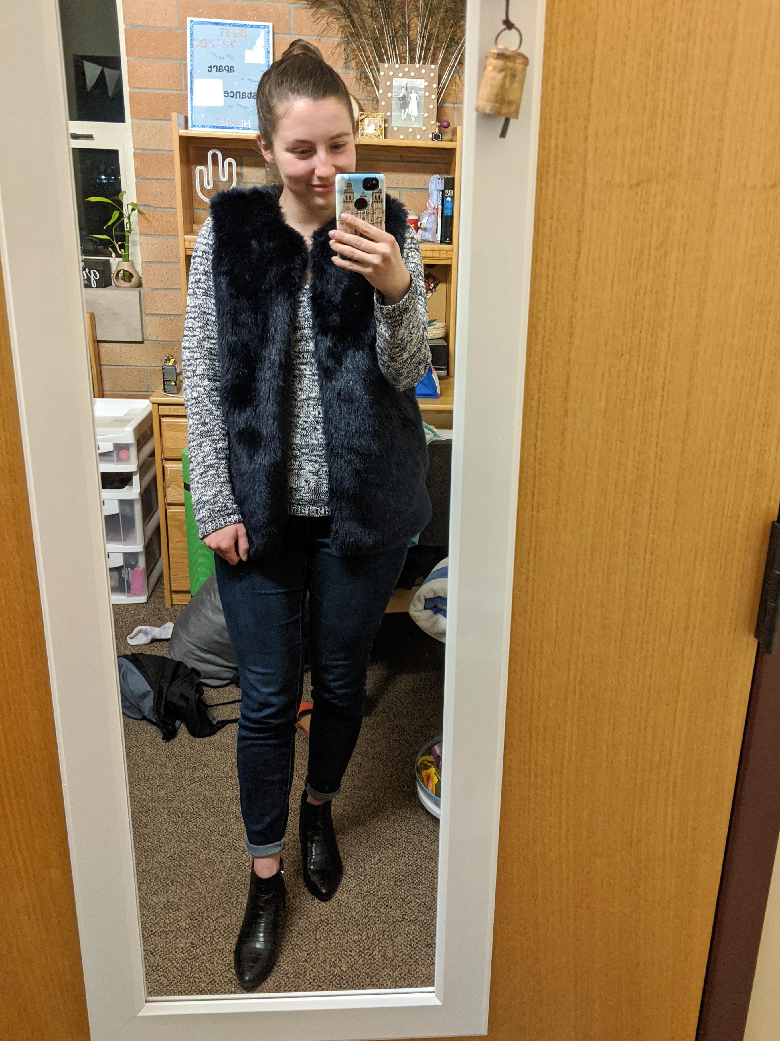 blue fur vest, Target finds, cozy sweater, college fashion blogger