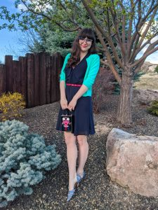 faux bangs, cardigan, navy dress, New Girl outfits