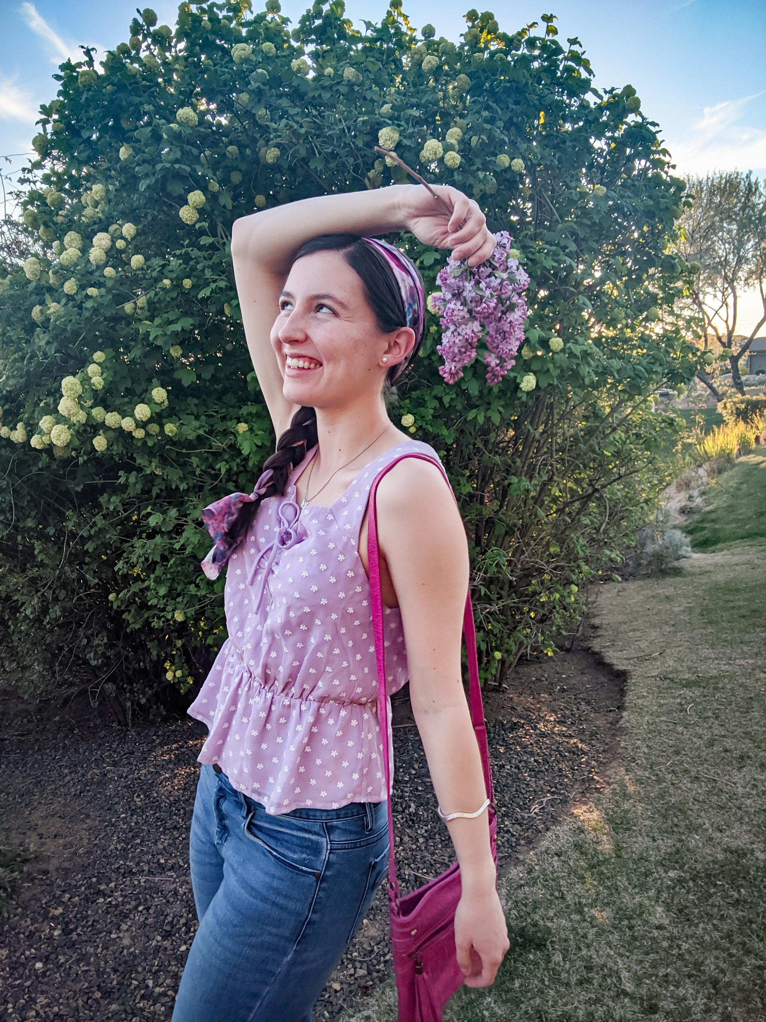 purple floral blouse, blue jeans, denim day
