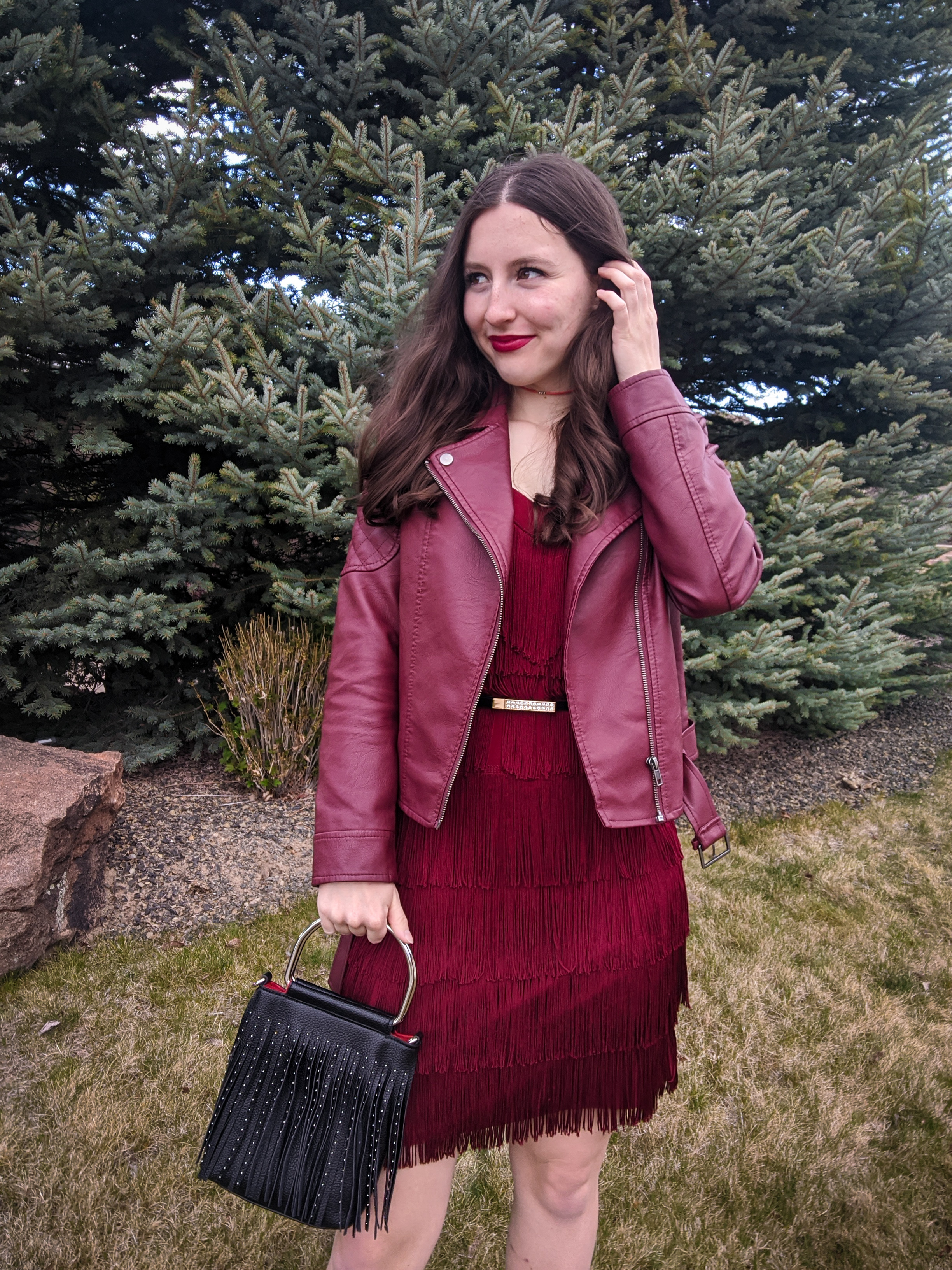 burgundy monochrome outfit, red fringe dress