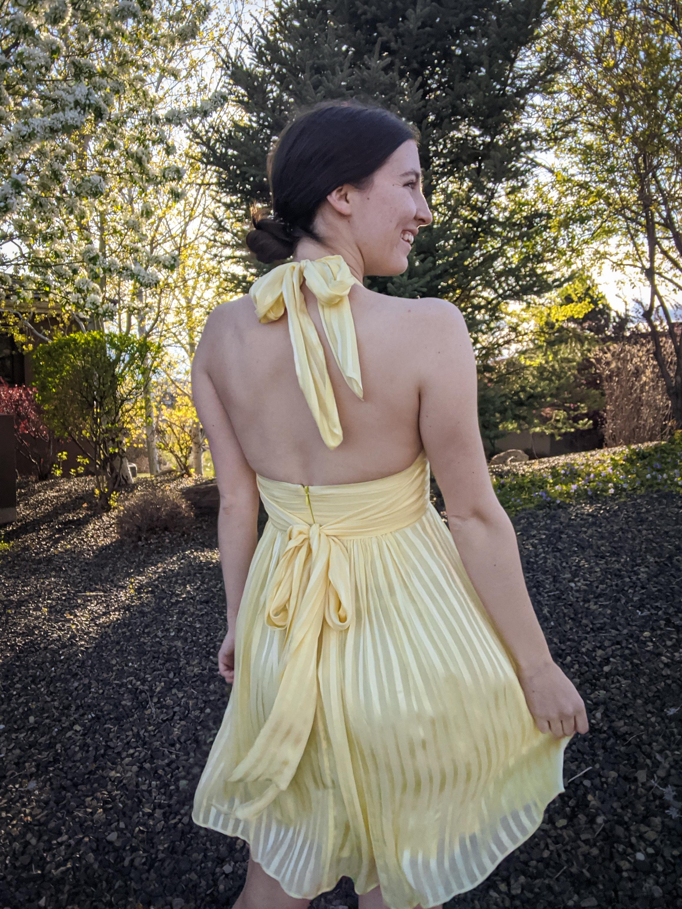 thrift shopping, yellow pleated dress, Assistance League Las Vegas