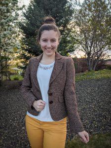 brown blazer, tweed blazer, thrift shopping