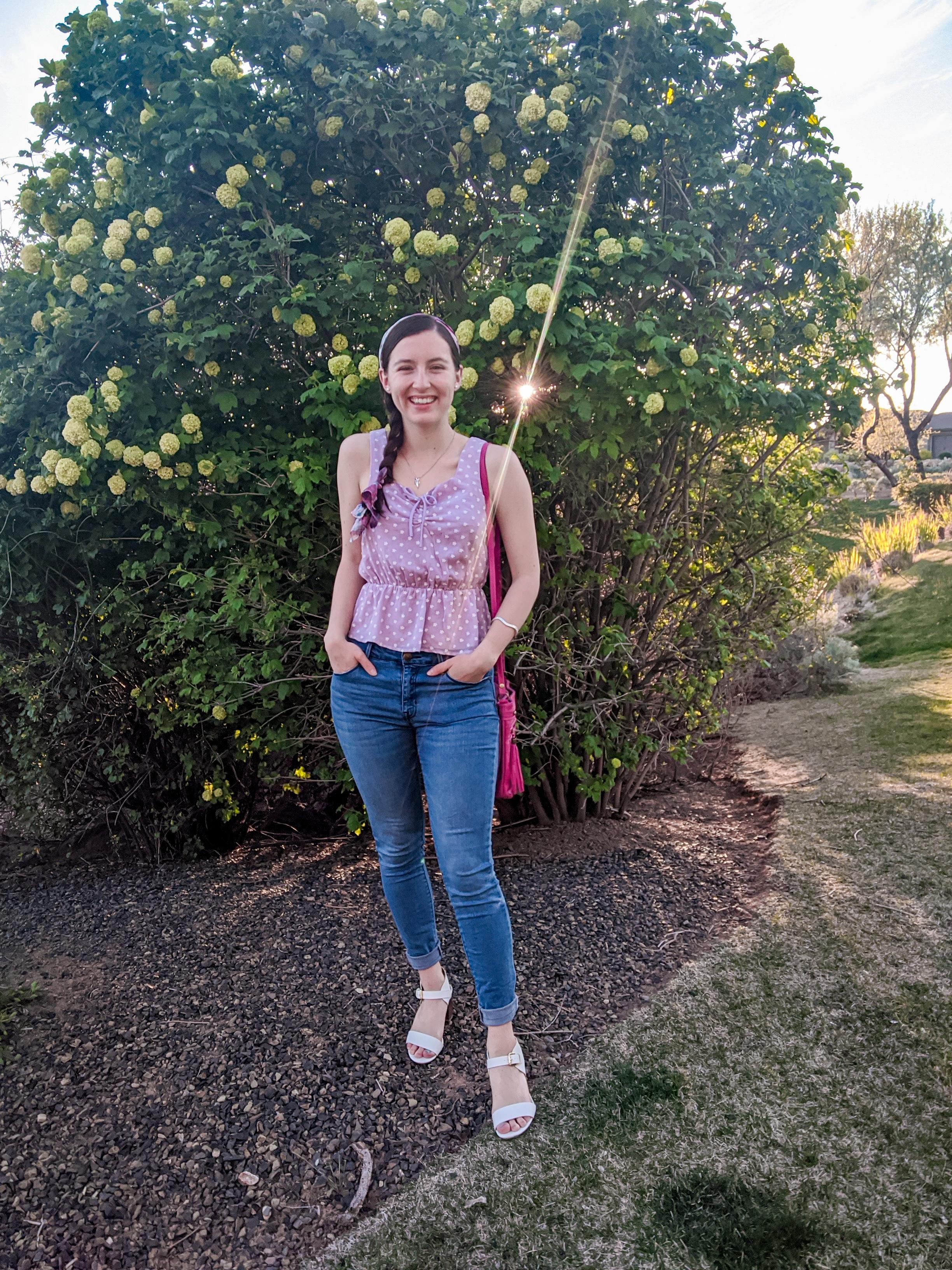 purple floral top, blue jeans, DSW, Francesca's
