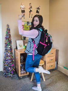 heading to online class, online school, coronavirus, flamingo socks