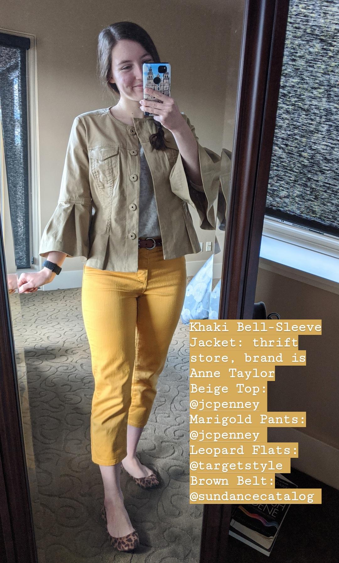 beige flute sleeve jacket, thrift shopping, mustard pants, leopard shoes