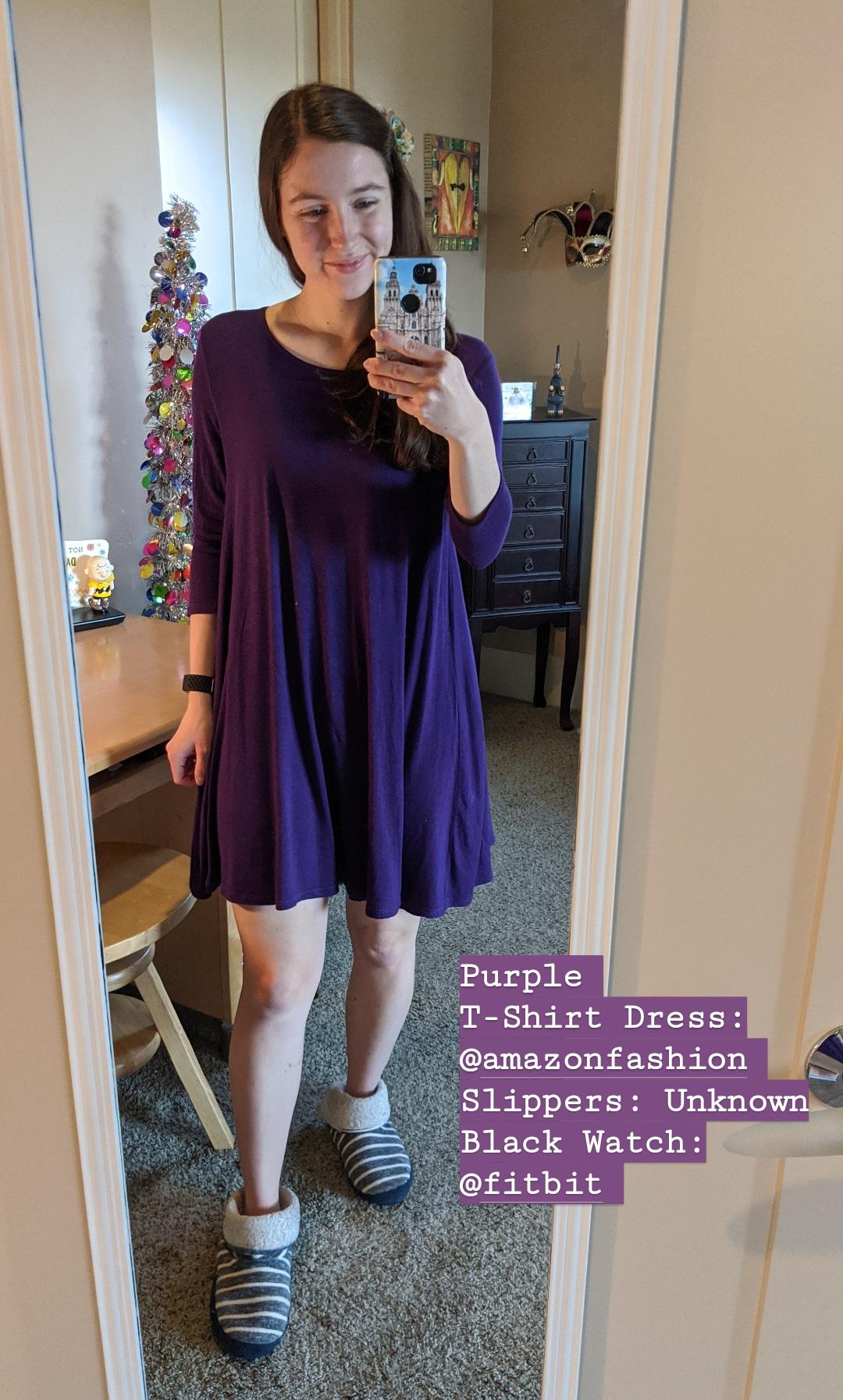 purple t-shirt dress, swing dress, slippers, quarantine outfit
