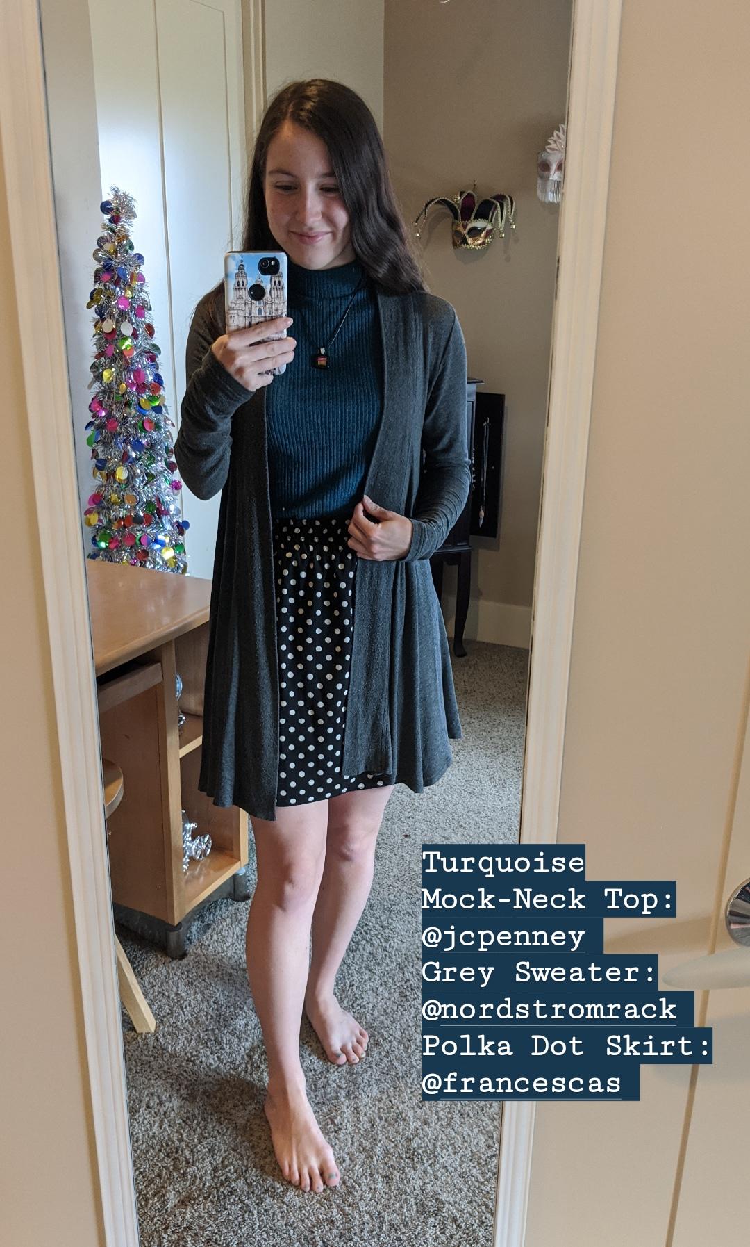 turquoise mock-neck top, grey cardigan, polka dot skirt, Francesca's
