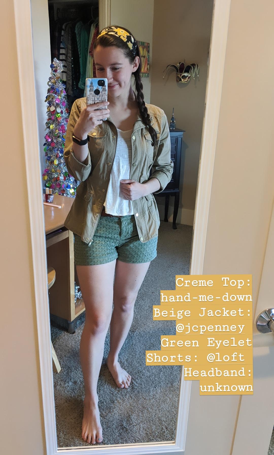 beige jacket, green eyelet shorts, Loft shorts, headbands