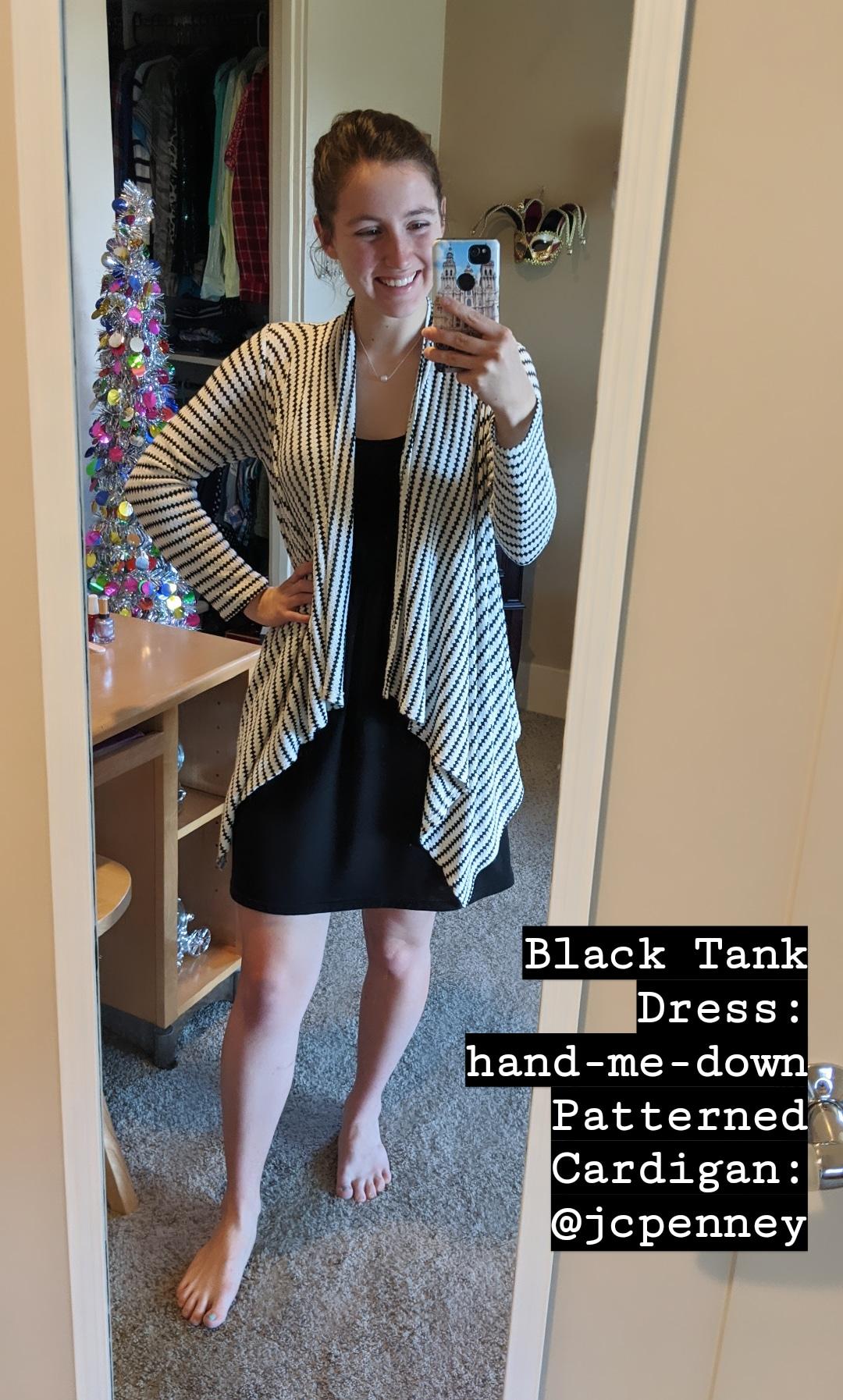 swing cardigan, black and white checkered, black tank dress, hand-me-downs