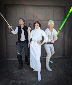 Han Solo costume, Princess Leia costume, Luke Skywalker costume