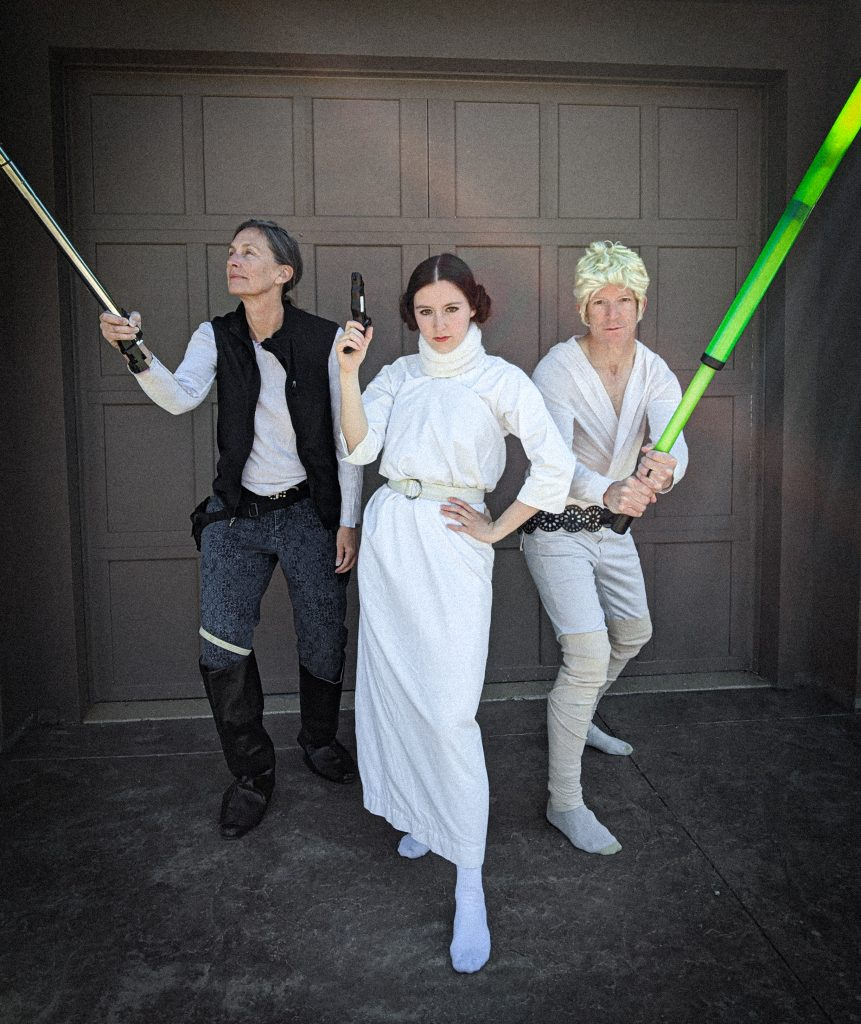 Han Solo costume, Princess Leia costume, Luke Skywalker costume