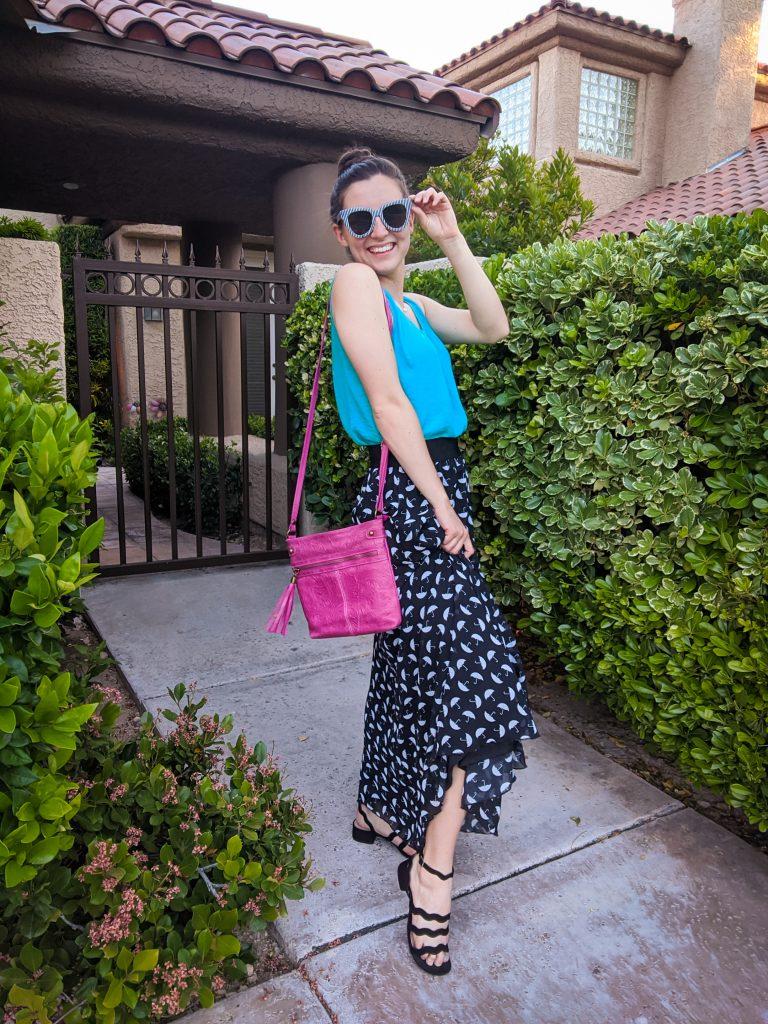 turquoise-top-pink-purse-umbrella-print-maxi-skirt