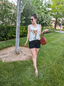 how to purge your closet, floral tank top, brown sandals, DSW