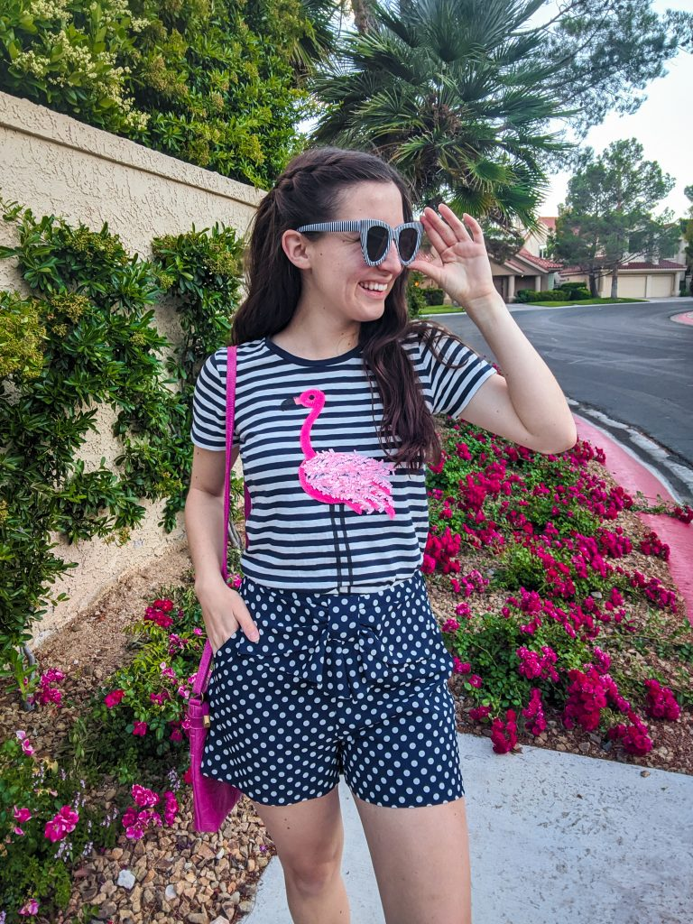 stripes and polka dots, summer outfit, how to pattern mix