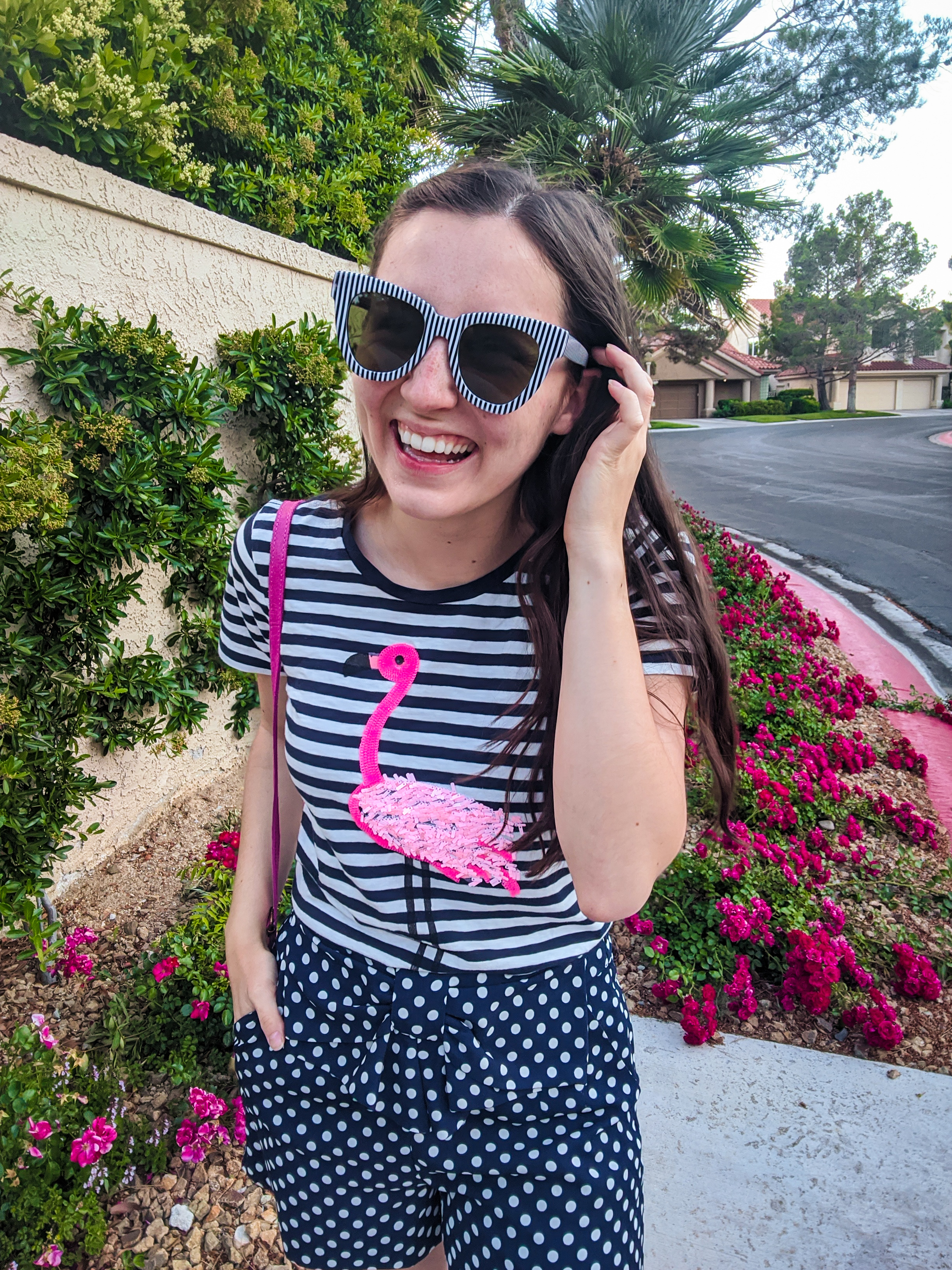 stripes and polka dots, navy outfit, summer outfit, summer clothes