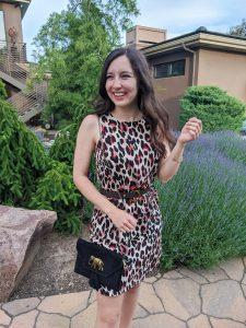leopard print dress, stylish outfit, college fashion, elephant purse