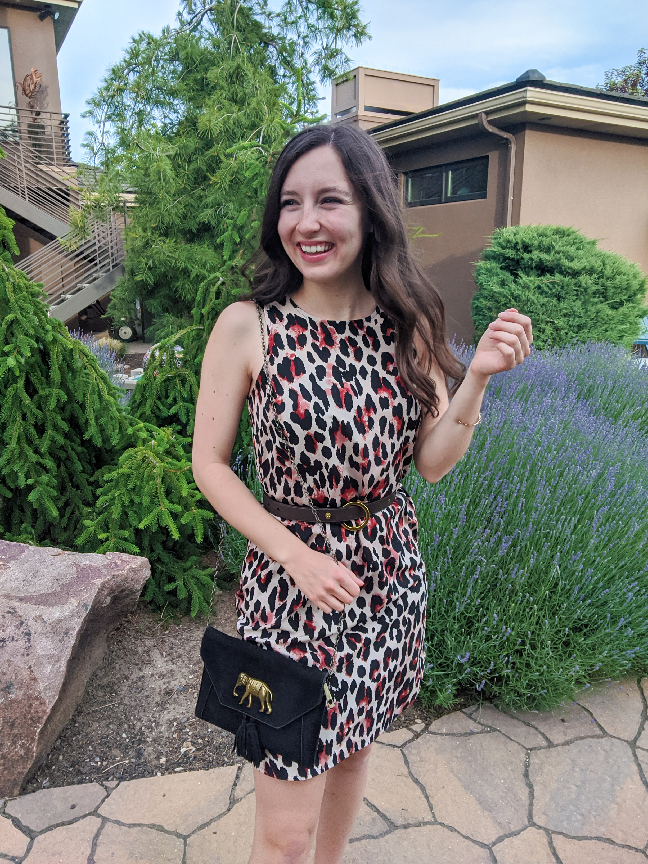 leopard print dress, stylish outfit, college fashion, elephant purse