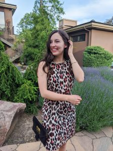 summer work wear, leopard print dress, black elephant purse