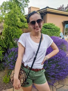 green-eyelet-shorts-white-tee-leopard-purse