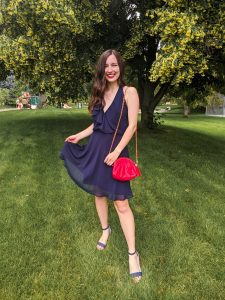 navy-dress-red-purse-striped-heels