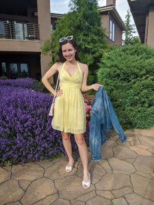 yellow-sundress-denim-jacket-white-flats