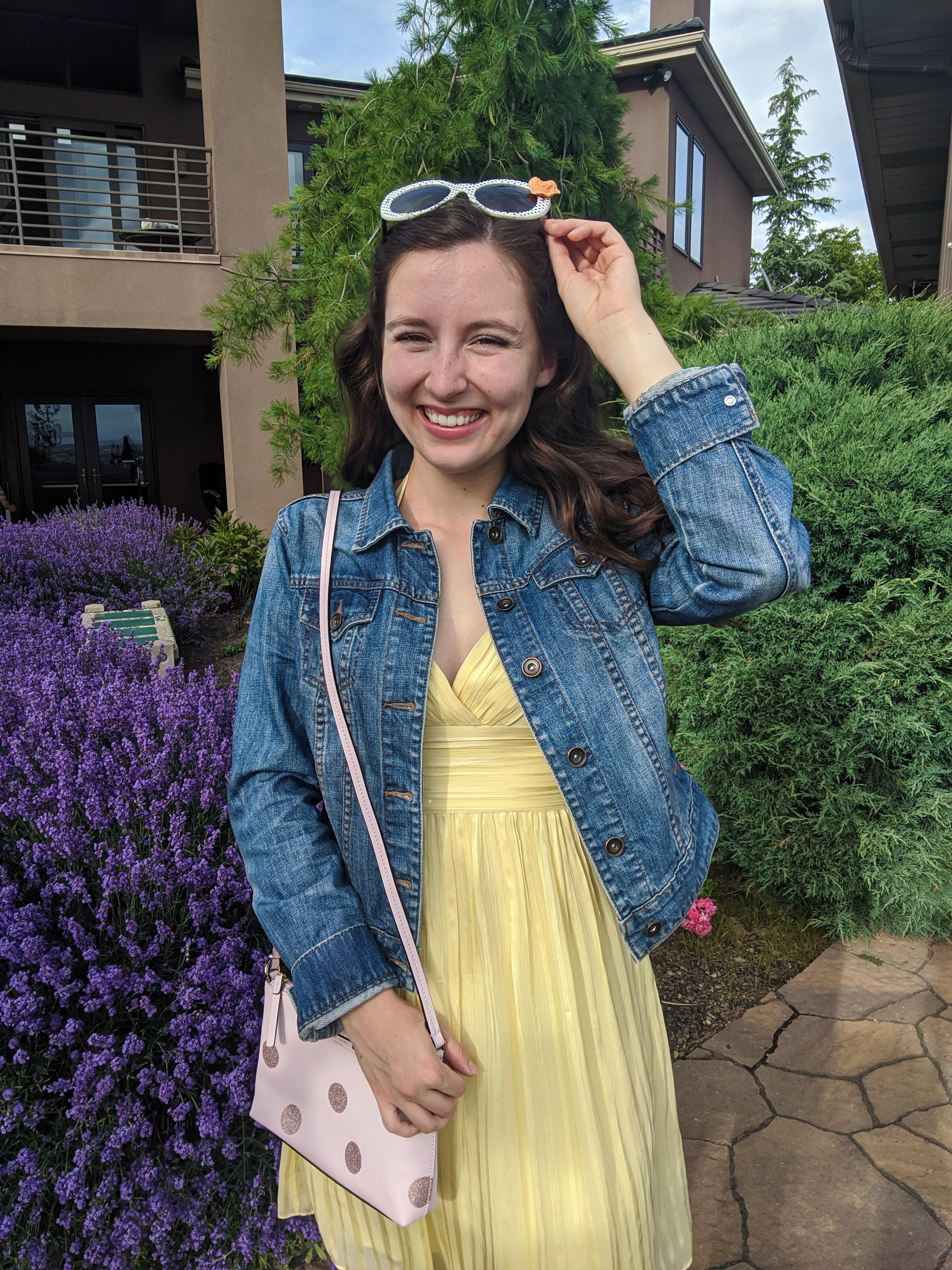 polkadot-sunglasses-yellow-dress-pink-kate-spade-purse