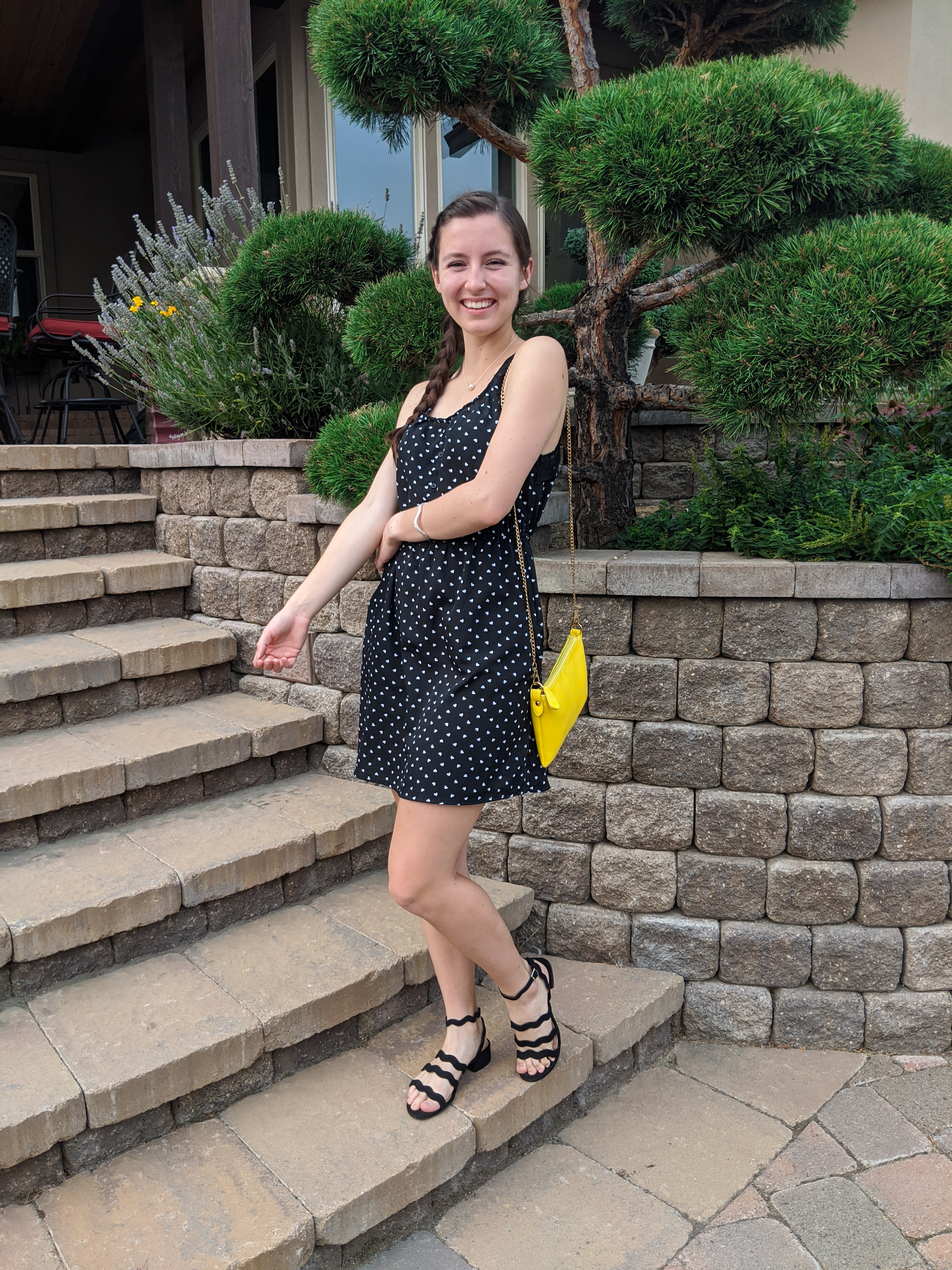dotted-dress-black-white-yellow-purse-pop-of-color