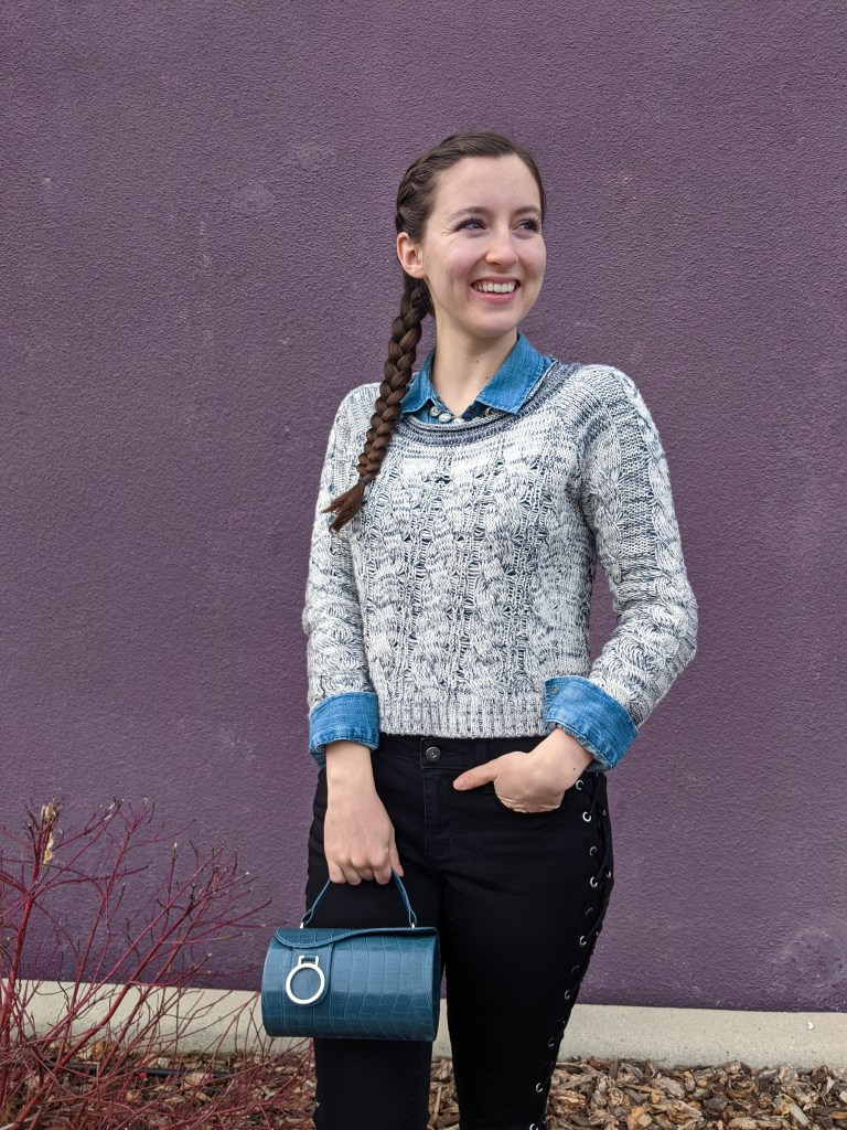 sweater-layers-grey-cropped-blue-cylinder-purse