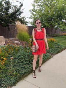 leopard-bag-red-dress-black-sandals