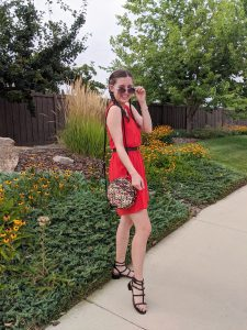 leopard-purse-dsw-black-studded-sandals-orange-dress-aviator-sunglasses