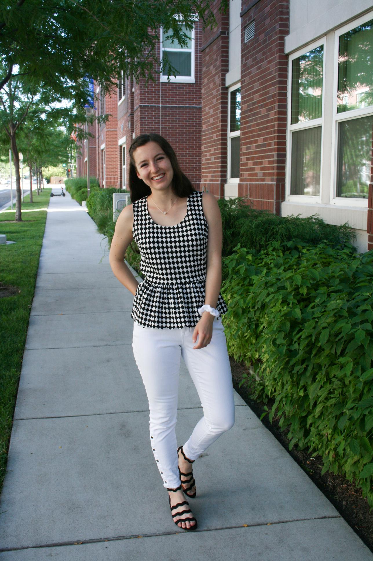 checkered-peplum-white-jeans-charming-charlie
